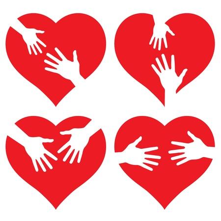 equipe medica: set di mani sul cuore, illustrazione astratta per la progettazione