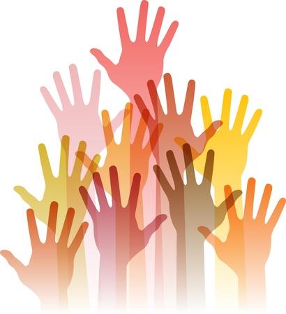 manos levantadas: diferentes manos hasta