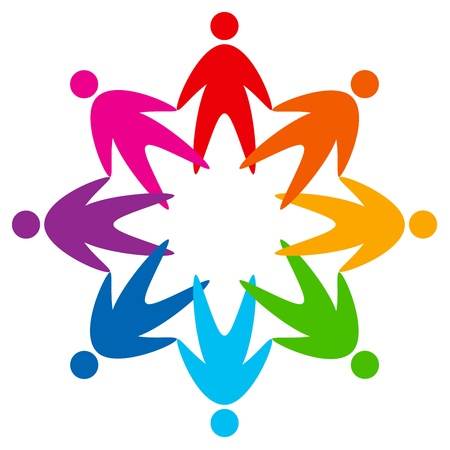 multicultural group: star of colorful people pictogram