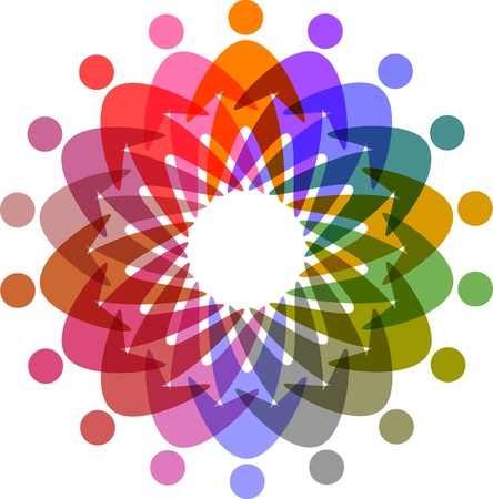 círculo de las personas pictograma colorido Vectores