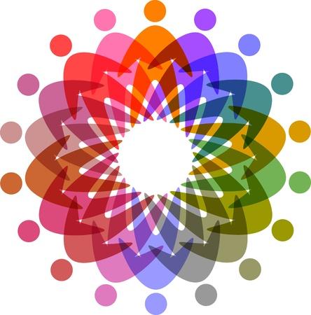 kring van kleurrijke mensen pictogram
