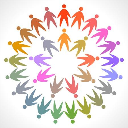 equipe medica: cerchia di persone colorate pittogramma