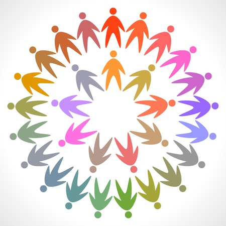 multicultural group: circle of colorful people pictogram Illustration