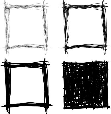 set of hand drawn borders  イラスト・ベクター素材