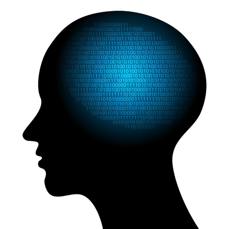 personalidad: resumen de la alta tecnolog�a ilustraci�n vectorial con c�digo binario
