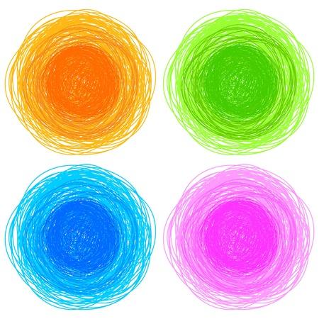 garabatos: lápices de colores dibujados a mano círculos, ilustración vectorial abstracto