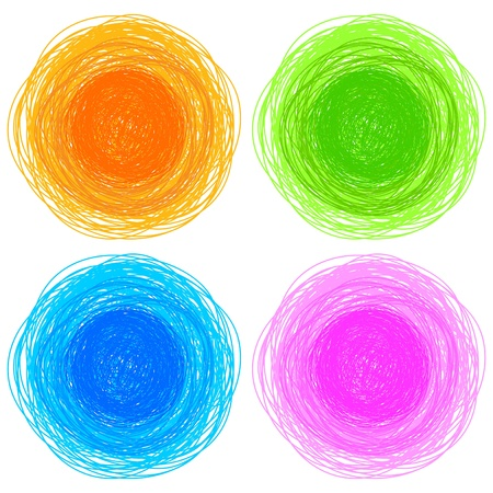 old hand: pencil colorful hand drawn circles, abstract vector illustration Illustration