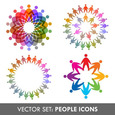teamwork together: vector set di icone persone