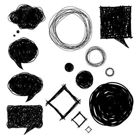vieze handen: set van hand getrokken schets bubbels, vector illustraties