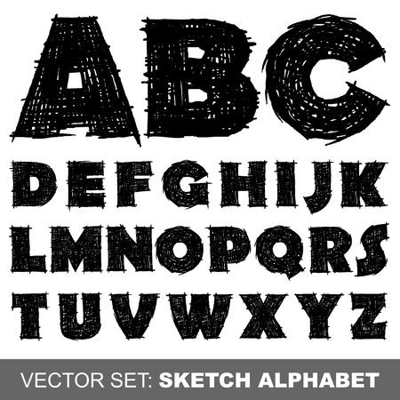 vieze handen: Vector Sketch Alfabet Stock Illustratie