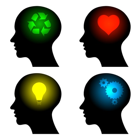 heart intelligence: head icons with idea symbols