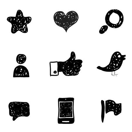 garabatos: Dibuje los iconos de los medios de comunicación social Vectores