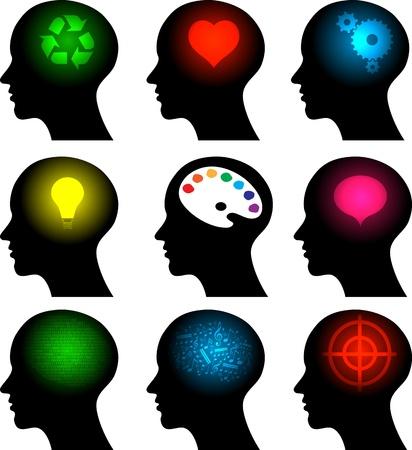 business discussion: conjunto de iconos en la cabeza con los s�mbolos de ideas