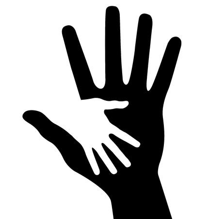 solidaridad: Cuidar la mano, ilustración vectorial abstracto para el diseño
