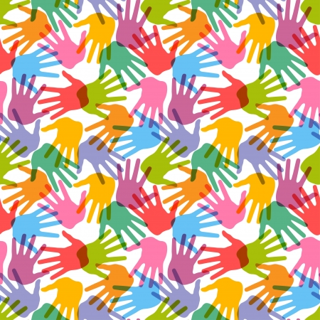 children group: Seamless handprint pattern