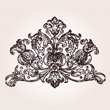 filigree swirl: Vintage engraved illustration from Maksimovich - Ambodik N  M - Emblems and Symbols - St  Petersburg, Russia  1788  Illustration