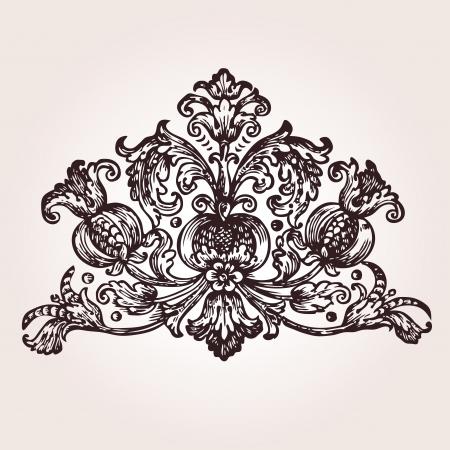 filigree: Vintage gegraveerde illustratie uit Maksimovich - Ambodik NM - emblemen en symbolen - St-Petersburg, Rusland 1788 Stock Illustratie