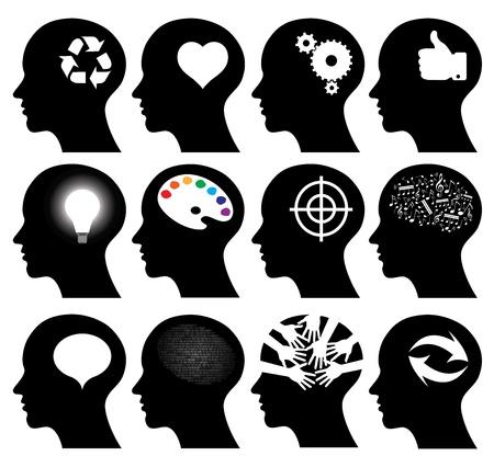 Set of 12 head icons with idea symbols, vector illustrations