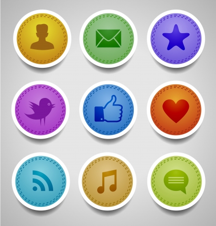 stitched labels with social web icons  イラスト・ベクター素材