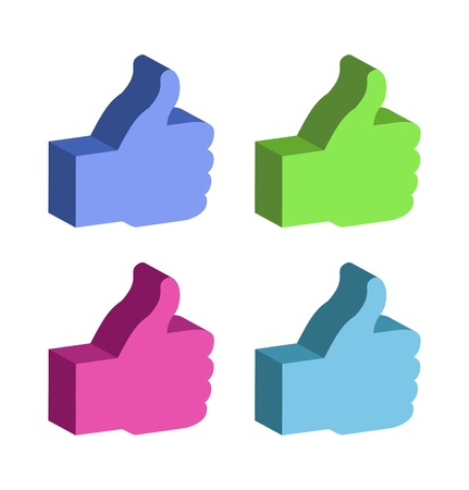 set of 3d colorful Thumb Up, Vector