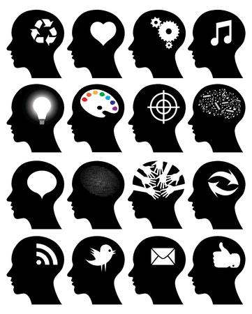 Set of 16 head icons with idea symbols  イラスト・ベクター素材