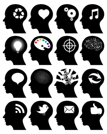 Set of 16 head icons with idea symbols Illustration