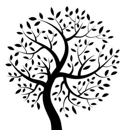 arbol de la vida: Árbol negro icono Vectores