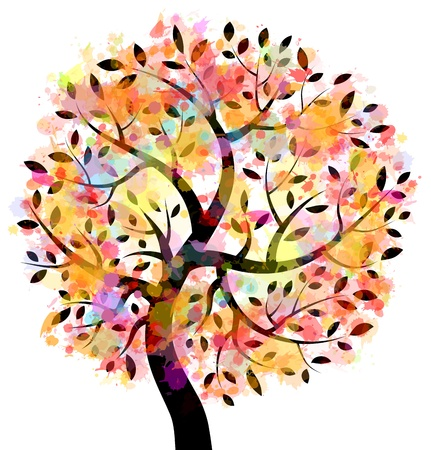 family isolated: Colorful Tree Illustration