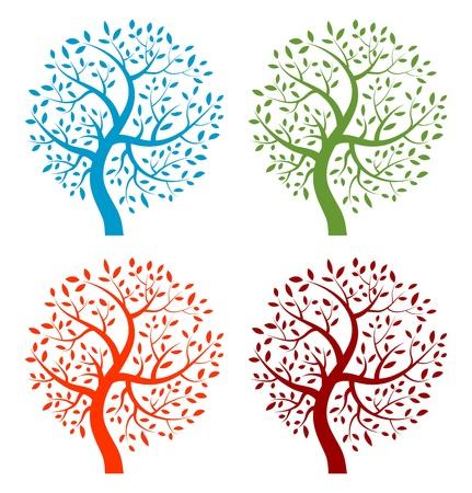 genealogical: Conjunto de iconos coloridos del �rbol de la temporada, Vectores