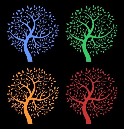 genealogical: Set of Colorful Season Tree icons on black background