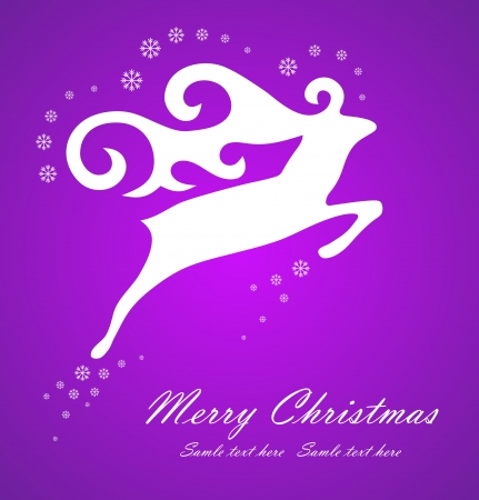 Christmas white deer on violet background, vector illustration Stock Vector - 14931738