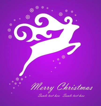 Christmas white deer on violet background, vector illustration Stock Vector - 14931738
