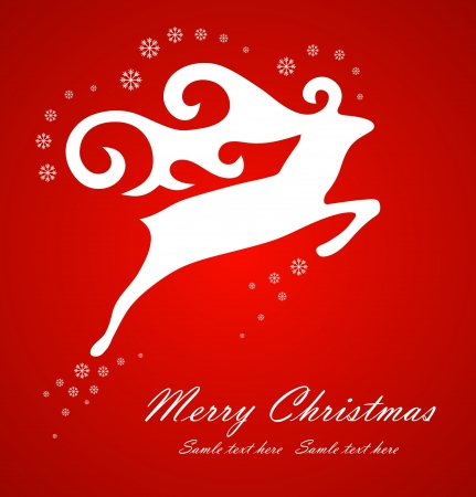 Christmas white deer on red background, vector illustration Vector