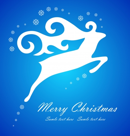 Christmas white deer on blue background, vector illustration Vector