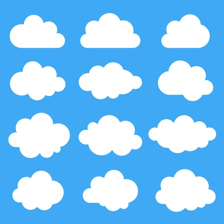 clouds scape: Set of 12 white clouds, vector illustration