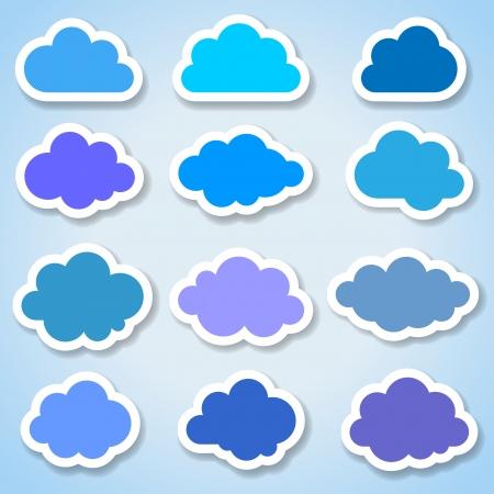 clouds scape: Set of 16 paper colorful clouds, vector illustration Illustration