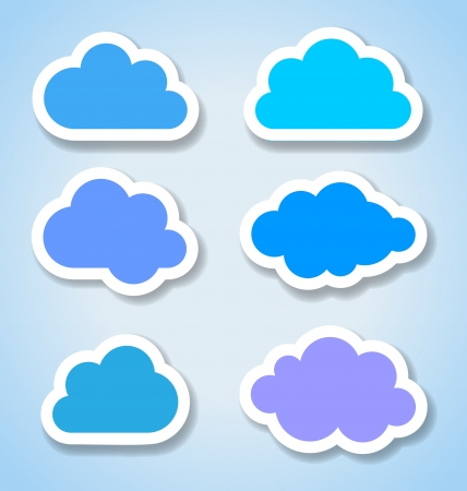 clouds scape: Set of 6 paper colorful clouds, vector illustration