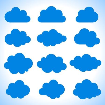 Set of 16 blue clouds, vector illustration