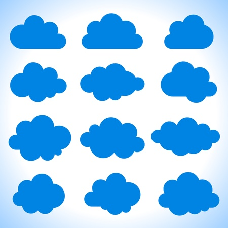 Set of 16 blue clouds, vector illustration
