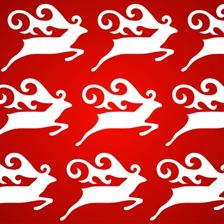 Christmas deer red background, vector illustration Stock Vector - 14931753