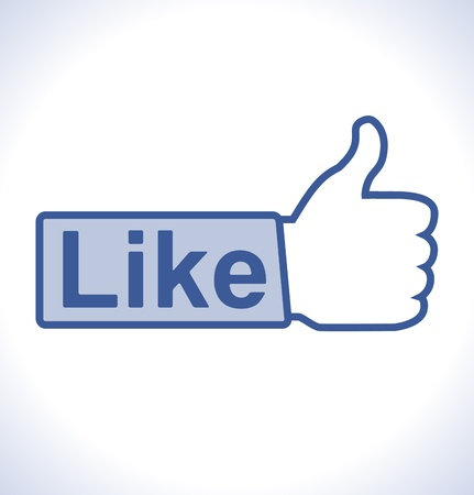 Thumb up hand with like text on button  Illustration