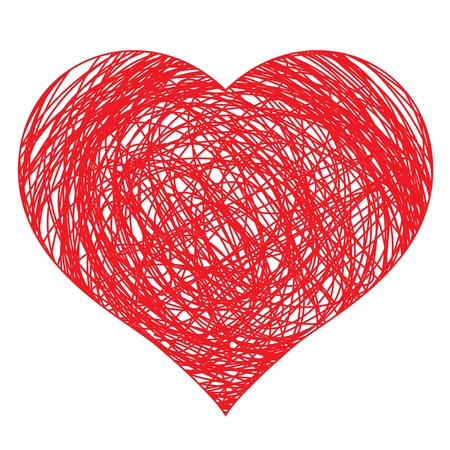 disegnati a mano cuore rosso, illustrazione vettoriale per la progettazione