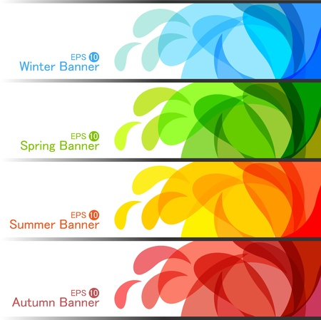header label: Set of Season Banners, abstract Illustration