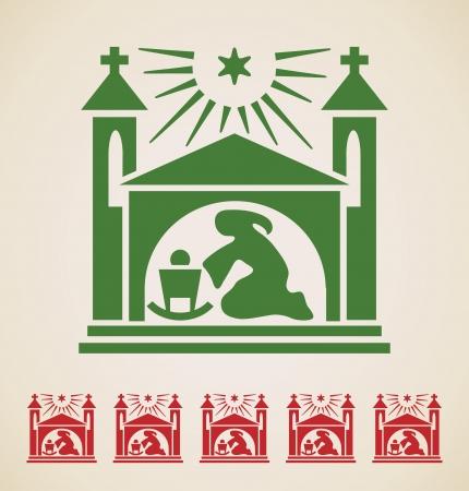 saint mary: Christmas icon, vintage vector design element