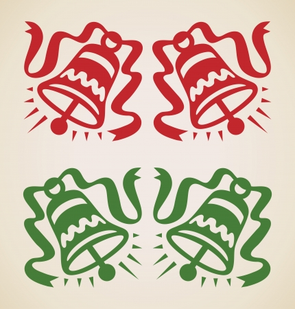 Christmas two bells, vintage vector design element Vector