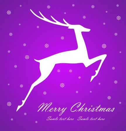 Christmas deer on violet  background, vector illustration Stock Vector - 15339562