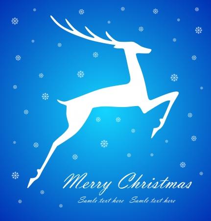 Christmas deer on blue background, vector illustration