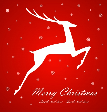 Christmas deer on red  background, vector illustration Vector