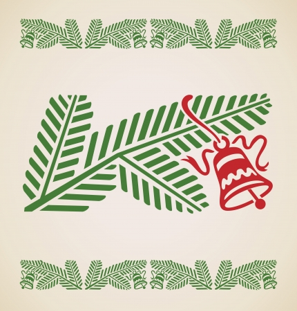 branch of spruce with bell, vintage vector design element