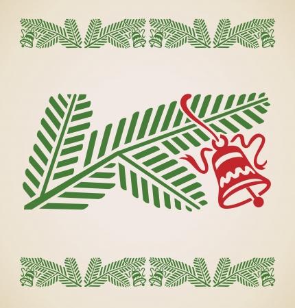 spruce: rama de abeto con campana, vector vendimia elemento de dise�o
